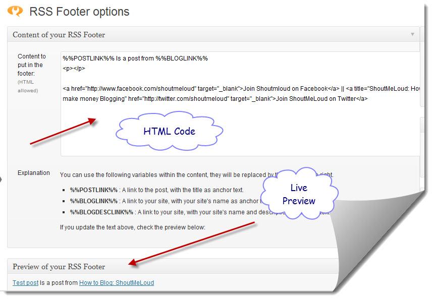 Rss Footer para WordPress