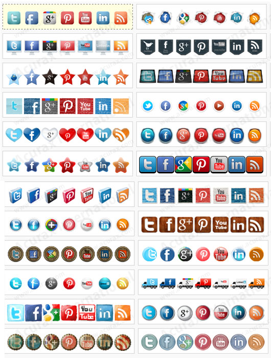 Acurax social media widget estilos de iconos sociales