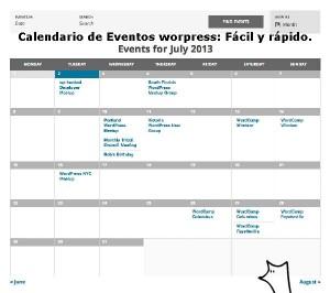 Calendario de eventos wordpress