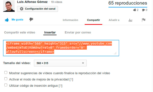 Codigo de incrustar vídeo de Youtube
