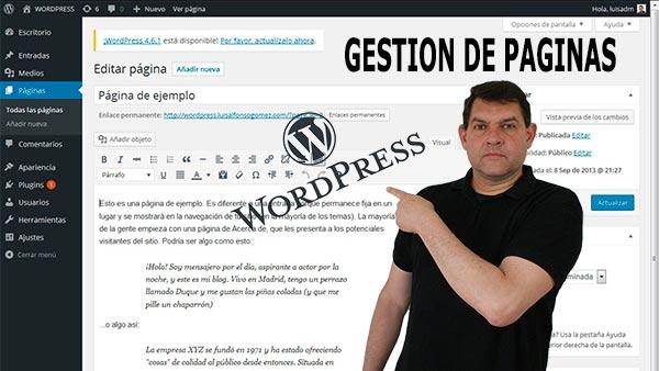 Curso WordPress para bloggers principiantes - La gestión de páginas
