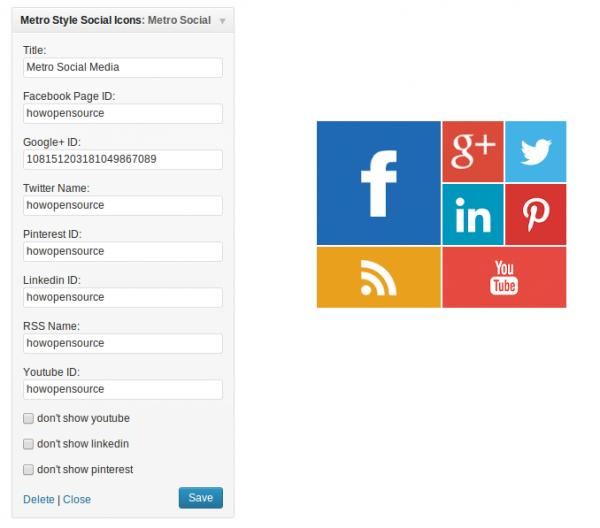 wifget social metro configuración